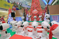 Christmas Snoopy decoration in APM Hong Kong Stock Images