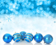 Christmas snow. Festive winter background of ornaments and snowflakes Stock Photography