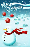 Christmas snow background. Merry Christmas on winter background. Snowman with a red scarf and hills and trees with the idyllic blue sky. postcard background Royalty Free Stock Photo