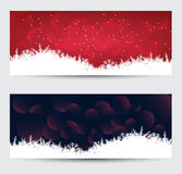 Christmas snow and background banners Festive header design Stock Images