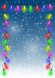 Christmas snow background with festive lights and stars. Vector Stock Photography
