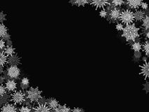 Christmas snow background frame with snowflakes black Royalty Free Stock Photography