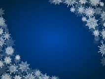 Christmas snow background frame with snowflakes blue Stock Photos