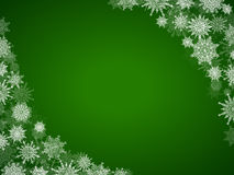 Christmas snow background frame with snowflakes green Stock Images