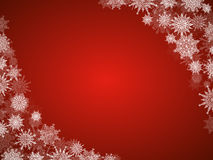 Christmas snow background frame with snowflakes red Royalty Free Stock Image