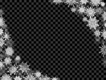 Christmas snow background frame with snowflakes transparent blac Royalty Free Stock Photos