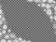 Christmas snow background frame with snowflakes transparent gray.  Stock Photography