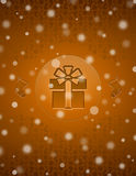 Christmas snow background with gift and christmas Royalty Free Stock Image