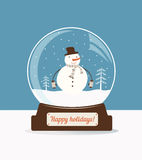 Christmas snow ball with snowman stock illustration