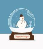 Christmas snow ball with snowman Stock Photo