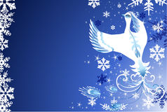 Christmas snow bird. Christmas background with snowflakes and snow bird Stock Photography