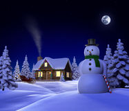 Christmas Snow Cabin Royalty Free Stock Photography