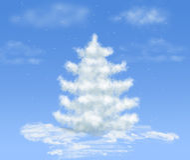 Christmas snow cloud dream tree on blue. Sky royalty free illustration