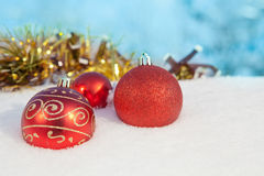 Christmas snow decoration balls Stock Photos