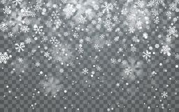 Christmas snow. Falling snowflakes on dark background. Snowfall. Vector illustration