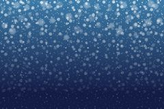 Christmas snow. Falling snowflakes on deep blue background. Snow royalty free illustration