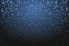 Christmas snow. Falling snowflakes on deep blue background. Snow stock illustration