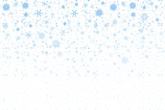 Christmas snow. Falling snowflakes on white background. Snowfall