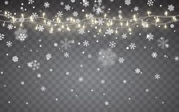 Christmas snow. Falling white snowflakes on dark background. Xmas Color garland, festive decorations. Glowing christmas lights. Vector snowfall, snowflakes vector illustration