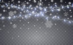 Christmas snow. Falling white snowflakes on dark background. Xmas Color garland, festive decorations. Glowing christmas lights. Vector snowfall, snowflakes royalty free illustration