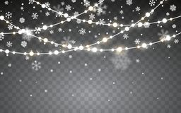 Christmas snow. Falling white snowflakes on dark background. Xmas Color garland, festive decorations. Glowing christmas lights. Vector snowfall, snowflakes stock illustration