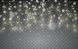 Christmas snow. Falling white snowflakes on dark background. Xmas Color garland, festive decorations. Glowing christmas lights. vector illustration