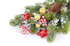 Christmas snow fir tree branch with holly berry and decor Royalty Free Stock Photography