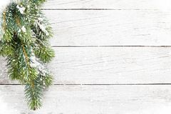 Christmas snow fir tree. On wooden table. Top view with space for your greetings Royalty Free Stock Image
