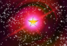 Christmas snow flakes. And star on red background Royalty Free Stock Image