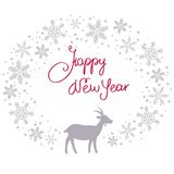 Christmas snow garland background with goat. Christmas snow garland background with grey goat Stock Photos