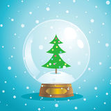 Christmas snow globe. With a tree on a blue background Royalty Free Stock Images