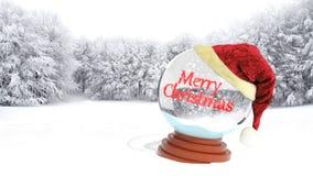 Christmas snow globe. On snowy field Stock Photography