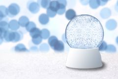 Christmas Snow Globe With Blue Holiday Background Royalty Free Stock Image