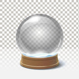 Christmas snow globe on checkered background. Magic ball Royalty Free Stock Image