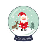 Christmas Snow globe with the falling snow, Santa Claus, Xmas tree and deer illustration. Stock Images