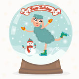Christmas snow globe with funny sheep. Happy Holidays Stock Photography
