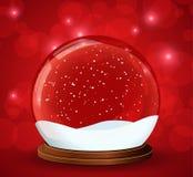 Christmas snow globe with glittering lights. Illustration of the christmas snow globe with magic light around Stock Photo