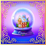 Christmas Snow globe with a house and trees Royalty Free Stock Photography