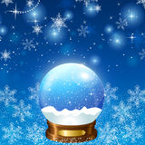 Christmas Snow Globe Loop. On a background of bubbles and snowflakes winter interior Stock Photos