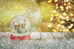 Christmas snow globe.New year Stock Photos