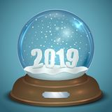 Christmas Snow Globe with 2019 New Year Figures Stock Illustration