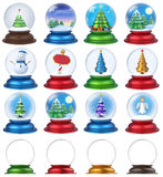 Christmas Snow Globe Set 3D Stock Images