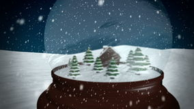 Christmas Snow globe. Snowflake with Snowfall on Blue Background stock video footage