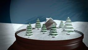 Christmas Snow globe. Snowflake with Snowfall on Blue Background stock footage