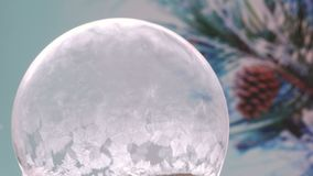 Christmas Snow Globe Snowflake. Winter Background. Freezing Snow globe Snowflake. For Christmas and New Year Holidays exclusive backdrop. Ice patterns slowly stock footage
