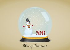 Christmas Snow Globe With Snowman Stock Image