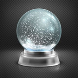 Christmas snow globe  on transparent checkered background vector illustration. Winter in glass ball, crystal dome with snowflake Royalty Free Stock Image