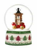 Christmas snow globe on white background. Stock Photo