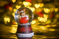 Christmas snow globe with xmas lights in background; Stock Images