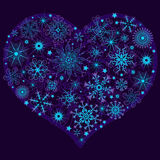 Christmas snow heart. With glowing snowflakes and stars (vector Stock Images